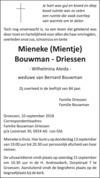 overlijdensbericht van Wilhelmina Aleida (Mieneke, Mientje) Bouwman - Driessen