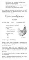 overlijdensbericht van Egbert (Auwert) van Egteren