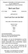 overlijdensbericht van Bert van Dun