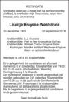 overlijdensbericht van Leuntje Kruysse - Weststrate