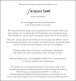 overlijdensbericht van Jacques Leonardus Ignatius (Jacques)  Senf