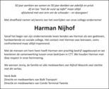 advertentie van Harman Marinus (Harman) Nijhof