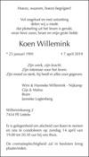 overlijdensbericht van Koen Willemink