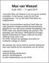 overlijdensbericht van Max Hans van Weezel