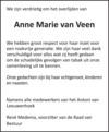 overlijdensbericht van Anne Marie  van  Veen