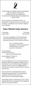 advertentie van Pater Michiel Haije Zeinstra