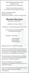 advertentie van Henricus Gerardus Maria (Hennie) Korsten
