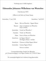 advertentie van Edmundus Johannes Wilhelmus van Westerloo