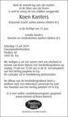 overlijdensbericht van Koen Kanters