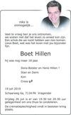 overlijdensbericht van Boet Hillen