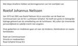 overlijdensbericht van Roelof Johannus Nelissen