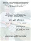 overlijdensbericht van Hans van Wieren