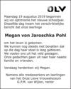overlijdensbericht van Megan von Jaroschka Pohl