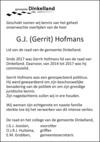 advertentie van Gerrit Johannes (Gerrit)   Hofmans