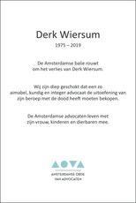 overlijdensbericht van Derk  Wiersum