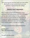 advertentie van Jenny  van Leeuwen