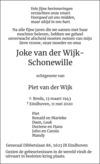 overlijdensbericht van Joke van der Wijk-Schonewille