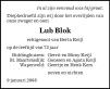 overlijdensbericht van Lubbert (Lub) Blok