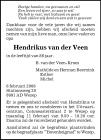overlijdensbericht van Hendrikus van der Veen
