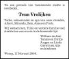 overlijdensbericht van Antonius Johannes (Teun) Vrolijken