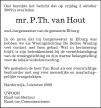 overlijdensbericht van Mr. Piet Thijs van Hout