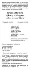 overlijdensbericht van Johanna Hermina Nijkamp - Schippers