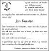 overlijdensbericht van Jan Kursten