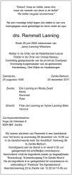 overlijdensbericht van Drs. Remmelt Lanning