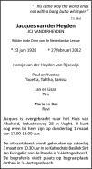 overlijdensbericht van Jacques (JCJ) van der Heyden