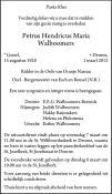 overlijdensbericht van Petrus Hendricus Maria Walboomers