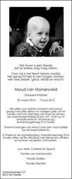 overlijdensbericht van Maud  van Hamersveld