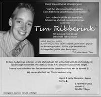 overlijdensbericht van Tim Ribberink