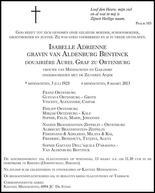 overlijdensbericht van Isabelle Adrienne Gravin zu Ortenburg - Van Aldenburg Bentinck