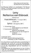 overlijdensbericht van Leny Millecam - Noltenius van Elsbroek