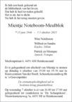 overlijdensbericht van Mientje Noteboom - Meulblok