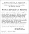 overlijdensbericht van Herman Gerardus  van Kesteren