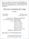 overlijdensbericht van Aloysius Laurentius (Louis) de Jonge
