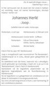 overlijdensbericht van Johannes (Joop) Herlé