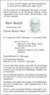 overlijdensbericht van Rein Bosch