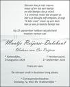 overlijdensbericht van Maatje Reijerse - Dalebout