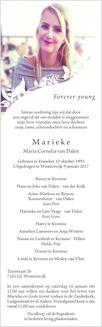 advertentie van Maria Cornelia (Marieke) van Dalen