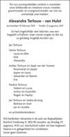 advertentie van Alexandra Terlouw - van Hulst