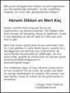 advertentie van Antonio Huibert Johannes (Herwin) Dikken